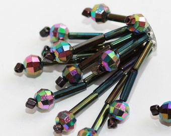 Beautiful  Iridescent Purple - Black GERMAN Vintage Hand Faceted Glass Beaded Embellishment (4) - Loopy Dangles