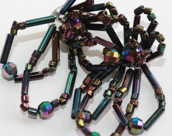 Fabulous Iridescent Purple - Black GERMAN Vintage Hand Beaded Embellishment Pair - Floral Loops