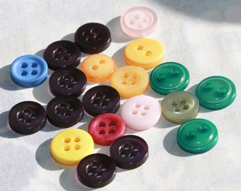 Mardi Gras Party Hues - Vintage Buttons - tiny button collection -  (24) Purple, yellow, green