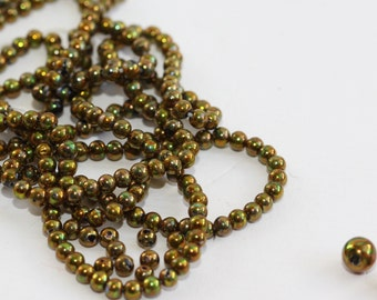 VINTAGE Beads - Iridescent Copper-Olive-Green - smooth round (50) 3 mm sz