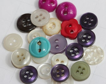 Fun Pack Button Assortment - Vintage tiny sew-thru - (24) Fuschia, Olive, Red, Purple, Turquoise