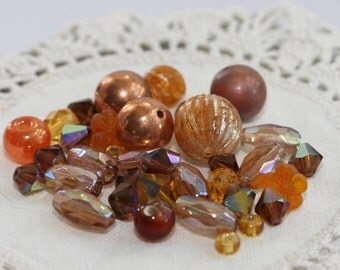 VINTAGE Amber Topaz Faceted Crystal, Copper, Metallic, Scored, resin BEADS assortment - Many varieties - fun pack (30)