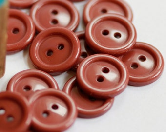 Rimmed Edge Smooth - Milk Chocolate Toned Vintage Buttons (21) 14 mm sz