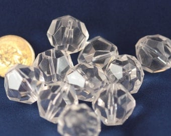 Cool as Ice - Crystal Clear Vintage Faceted SUPER HUGE -  Crafting Beads