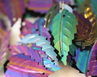 Tiny Iridescent Shimmering Multi Hued Blue Black  VINTAGE serrate leaf sequins (50) 12mm