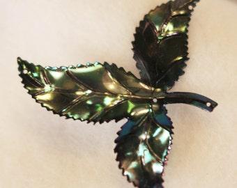 VINTAGE - Shimmering Black Purple Blue Green iridescent LARGE Leaf Sequins (12)