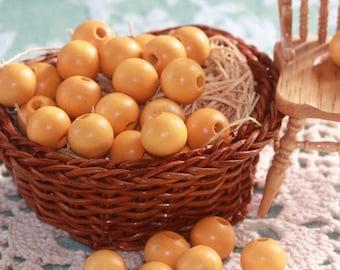 Light Yellow-Orange Round Vintage Wooden Crafting BEADS (30) 10 mm