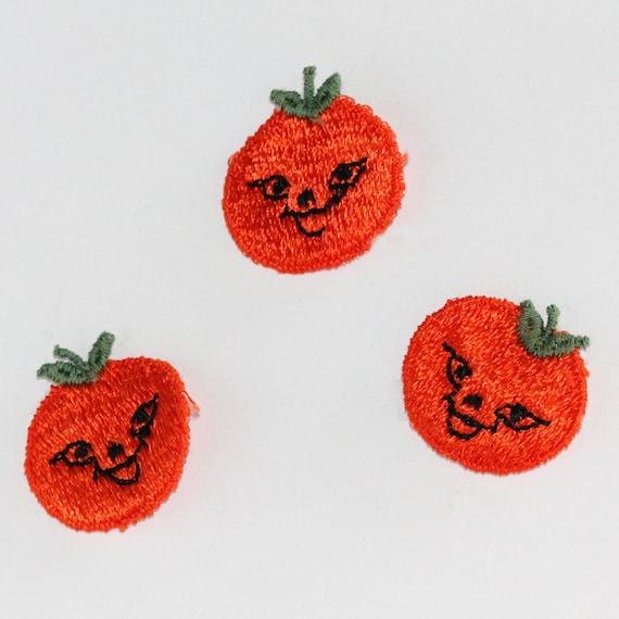 Trio of  Happy Sunny Florida (or California) Oranges  OR Pumpkin - Jack-O Lanterns - Vintage Appliques