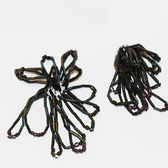 Hand Beaded Black Iridescent Loopy Dangle Vintage Embellishments