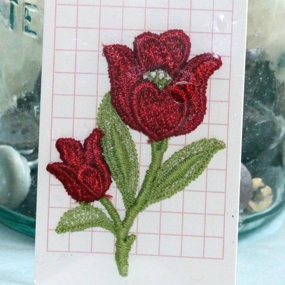 Vintage Red Flower - Tulips on green stems -  Iron On Silk Applique