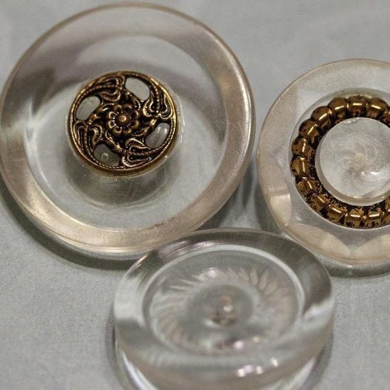 Vintage Lucite & Metal Combo Art Nouveau Shank Coat Buttons Collection - Three Unique Styles - SALE