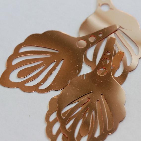 Shiny Copper VINTAGE Art Deco Style Fan Shaped Large Decorative Leaf Metallic  Sequins (20) 46 mm long