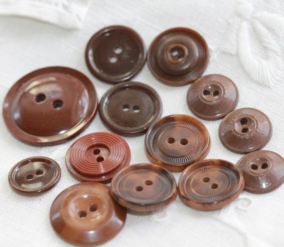 Natural Deep Earthy Browns - Vintage - Scored edge - Button Destash - Asst sizes and styles - One Dozen - Two-Holers
