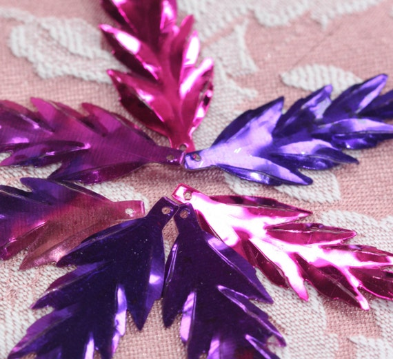 Purple Haze Linear leafy 2 toned  FLAME/FEATHER Vintage Sequins (30) 40 mm Steampunk Fun