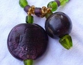Grape Purple and Green Double pendant necklace