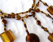 Chunky Brown and Gold Multi-Layered Necklace with Five drop pendants