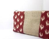 Burlap Medium Cosmetic Pouch - Cranberry Ikat