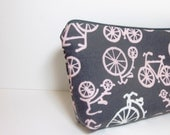Medium Cotton Cosmetic Pouch - Pink Bicycles