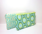 Reserved for Nicole - Aqua Blue Honeycomb Small Pouch Set