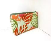 Medium Cotton Cosmetic Pouch - Desert Blooms in Green