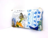 Cotton Cosmetic Zipper Pouch - Blue French Journal