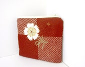Small Zipper Pouch - Rust Flower Kimono Fabric