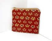 Small Zipper Pouch - Brick Red with Flowers Kimono Fabric