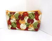 Medium Zipper Pouch - Wine, Creamsicle and Olive Parasols