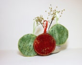Fabric Ornaments Red Green and Gold Circles - handjstarcreations