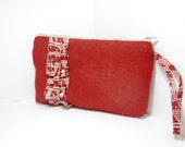 Wristlet - Red Burlap with Fabric Ruffle