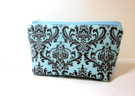 Medium Cosmetic Pouch Brown and Blue Damask Print