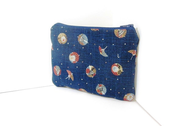 Small Zipper Pouch - Japanese Parasols in Indigo