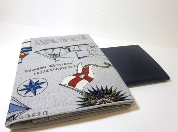 Fabric Passport Cover in Grey with Marine Lighthouses
