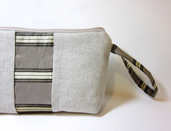 Small Wristlet in Taupe with Accent Stripe
