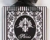 Paris Fleur de lis Shabby Damask and Stripes  chic Wood Wall Plaque Picture