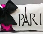 French Damask Paris Eiffel Tower Throw Pillow & Bow