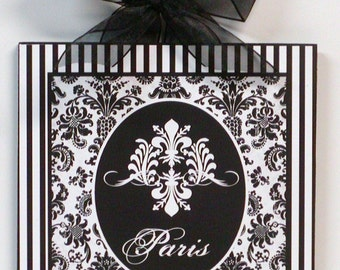 Paris Fleur de lis Shabby Damask and Stripes  chic Wood Wall Plaque Picture