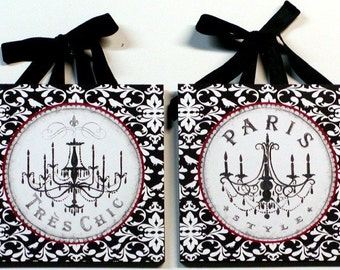 Set of 2 Shabby Paris Chic Black and White DAMASK Chandelier Plaques