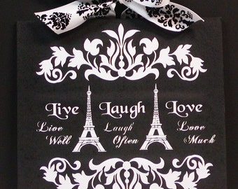 Live Love And Laugh Paris Eiffel Tower French Damask Wood Wall Plaque