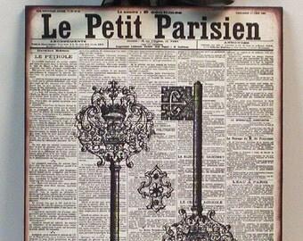 Vintage French Newspaper Antique Paris Keys Custom Wooden Wall Plaque