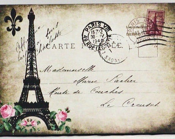 Vintage Postcard Paris Eiffel Tower Wooden Wall Plaque