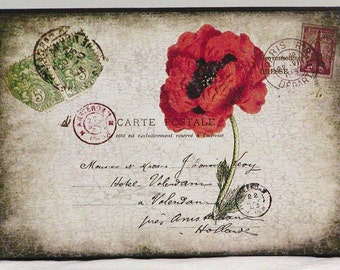 Vintage French Postcard Red Poppy Wooden Wall Plaque