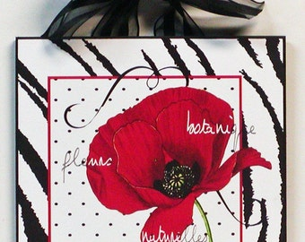 Zebra and Polka Dot French Poppy Flower and Paris Script Wood Wall Plaque
