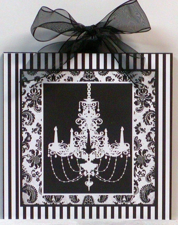 Shabby Damask Stripes black and white Chic French Chandelier Wooden Wall Plaque