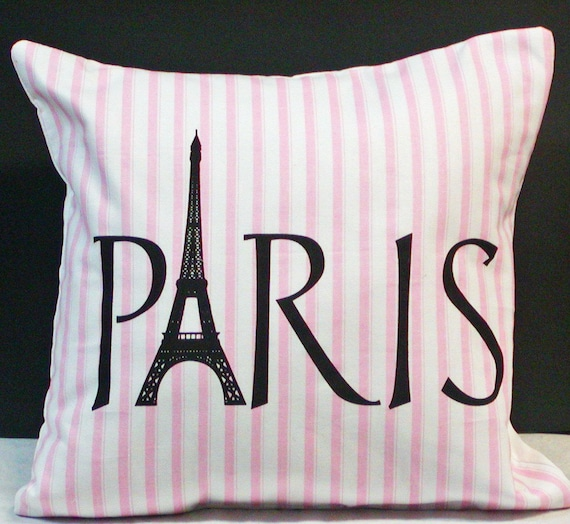 Paris Eiffel Tower French Girly Pink And White Stripe Throw