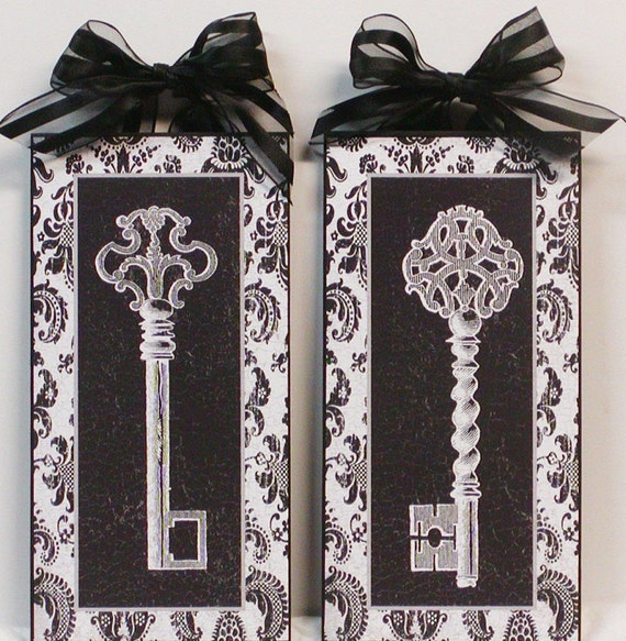 Set of Two French Damask Black and White Vintage Key Wall Plaques
