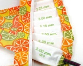Sock DPN Set - Double Pointed Needle organizer- in citrus fabric with vinyl pouch