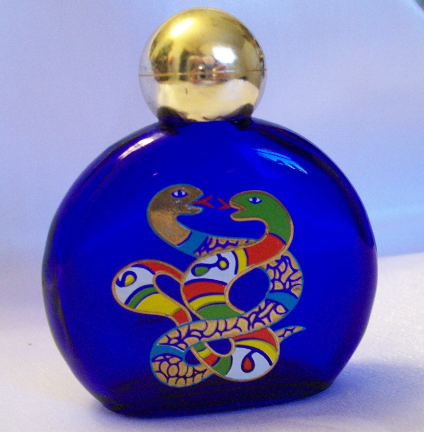 Cobalt Blue Collectible Perfume Bottle With Kissing Snakes