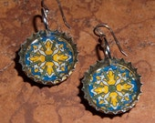 Recycled Bottle Cap Resin Earrings- mexican tile