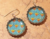 Recycled Bottle Cap Resin Earrings- Turquoise Peacock